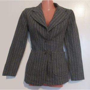 vintage grey gray wool blazer jacket size small xs
